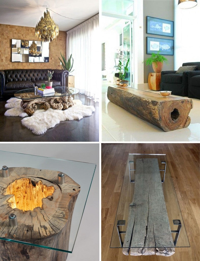 Collage Of Four Log Base And Glass Top Coffee Tables
