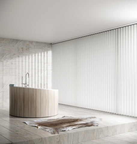 White vertical blinds in a modern grey and cream bathroom