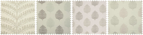 Four grid collage of beige leaf fabrics