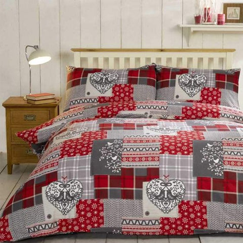 Alpine Patchwork Brushed Cotton Bedding Set Red