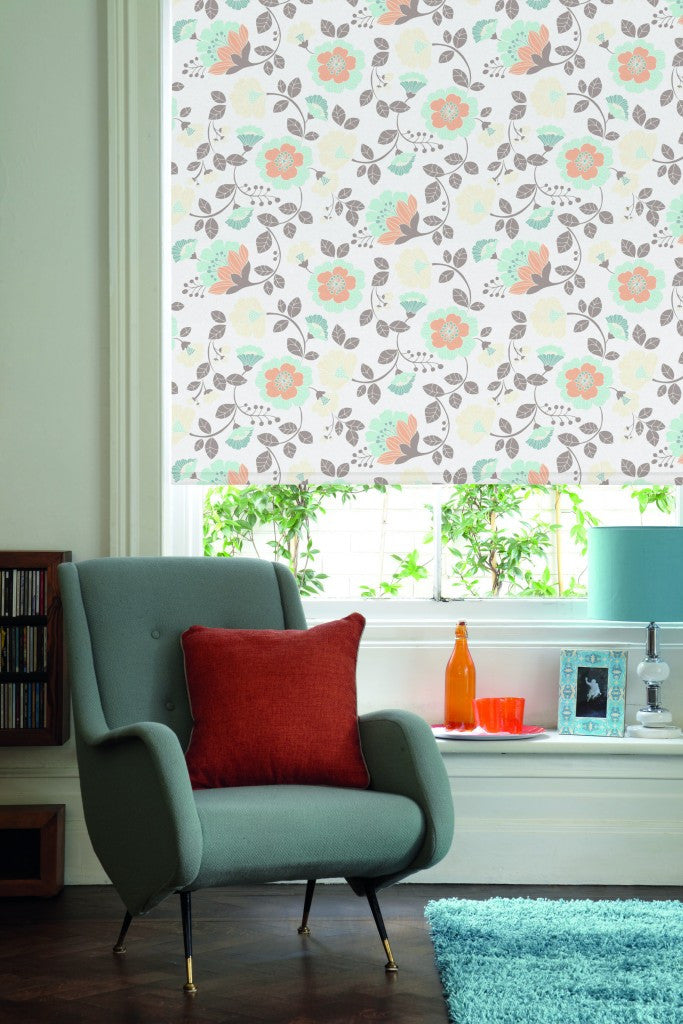 Light cream and beige roller blind with brown and mint green floral design