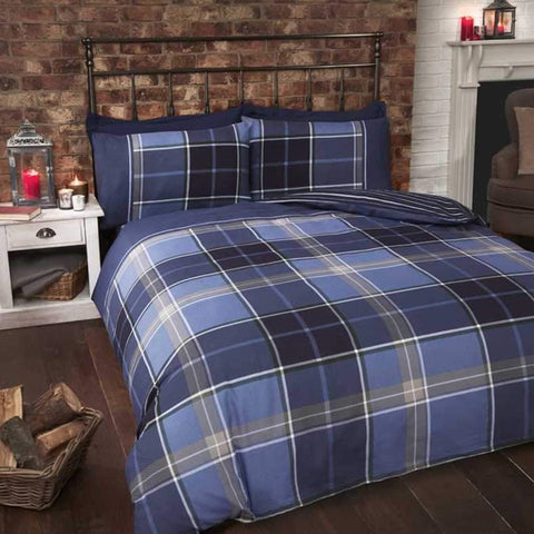 Blue and light blue checked bedding