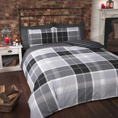 White, grey and black checked bedding
