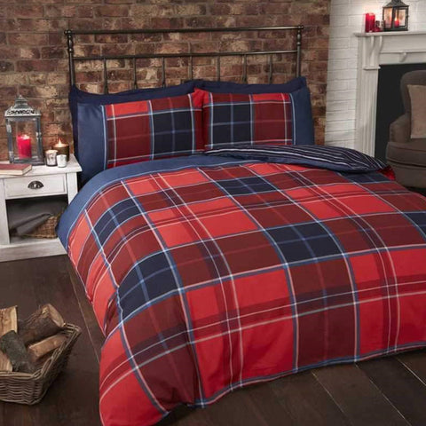 Red and blue checked fabric
