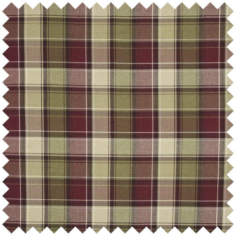 Beige, green and red checked fabric