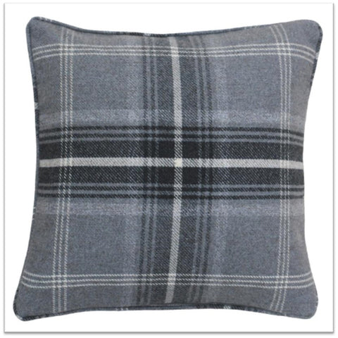 Dark grey and white checked cushion