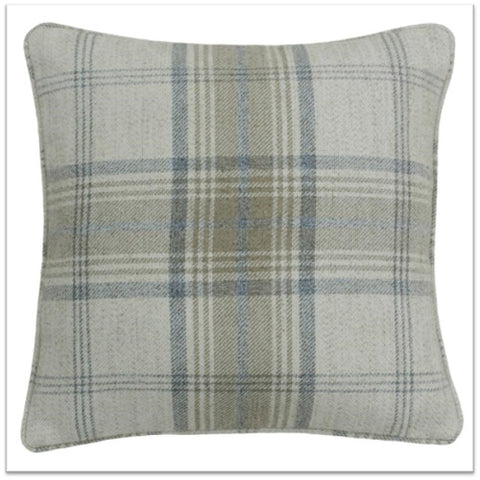 Light grey and greige checked cushion