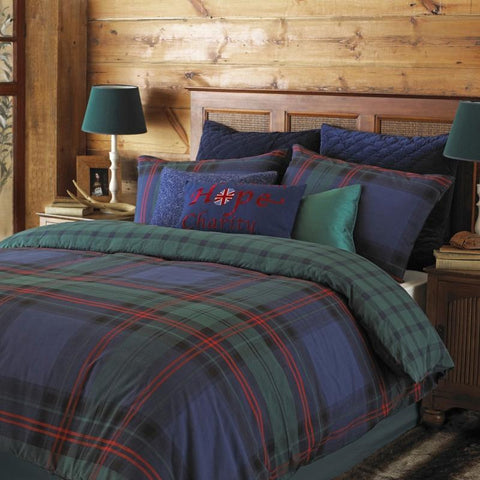 Blue, red and green checked bedding