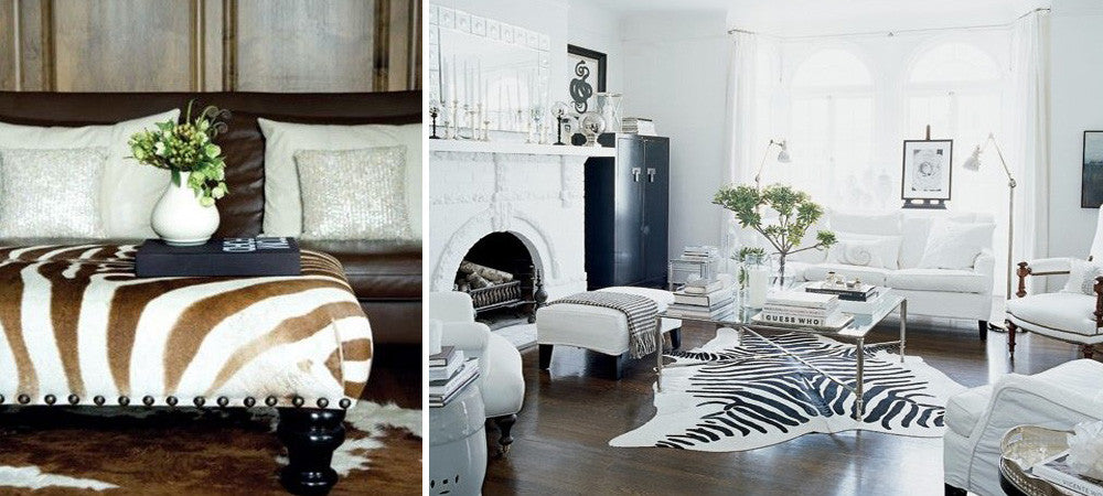 Two Photos, Each Using Zebra Skin In The Home