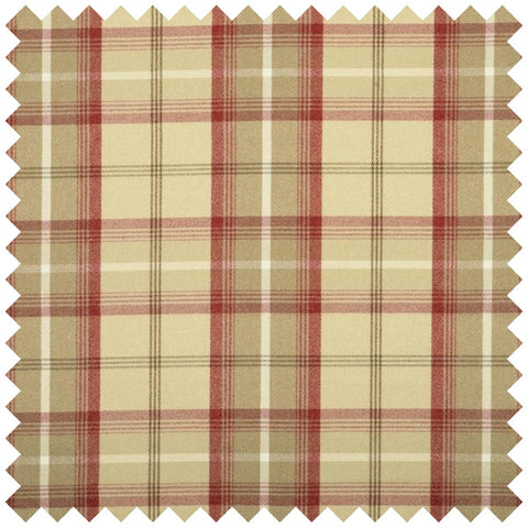 Cream, red and beige checked fabric