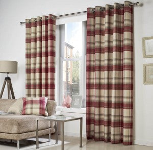 Belvedere Red Checked Eyelet Curtains