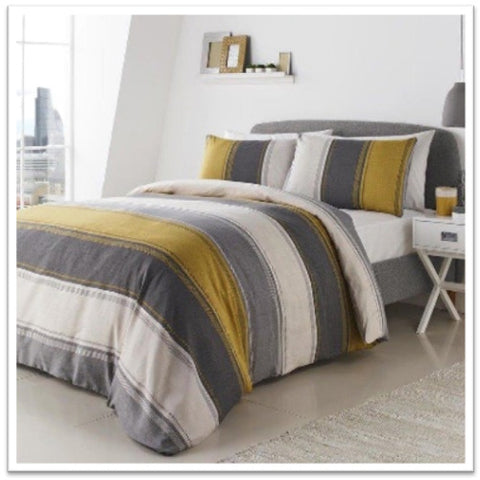 Grey, white and gold striped bedding