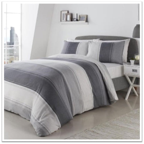 Grey and white double bedding