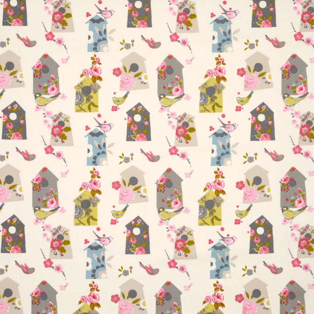 Birdhouse patterned fabric in cream, beige and light blue