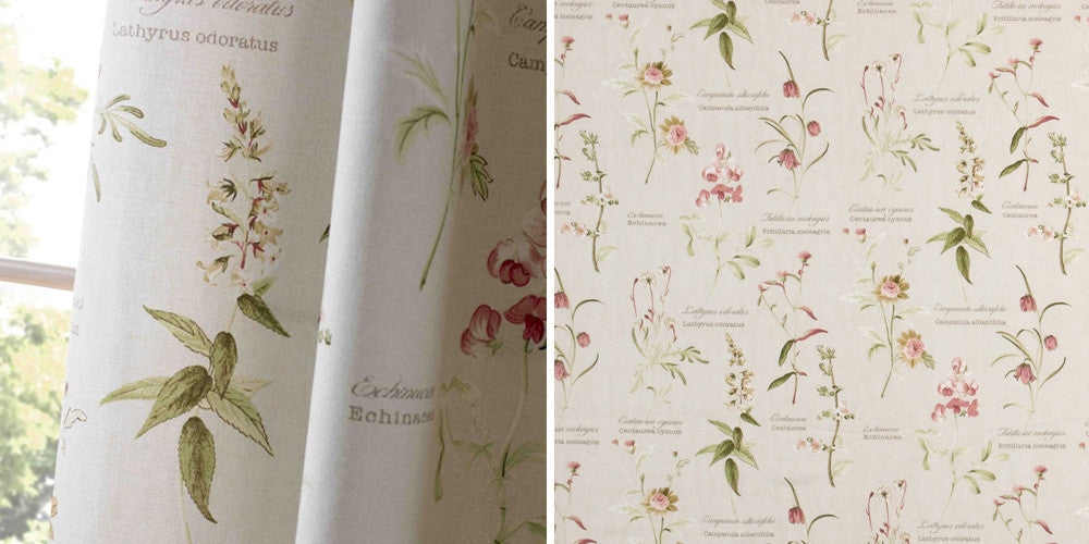 Botanical cream, green and pink curtains and then a closeup of the fabric