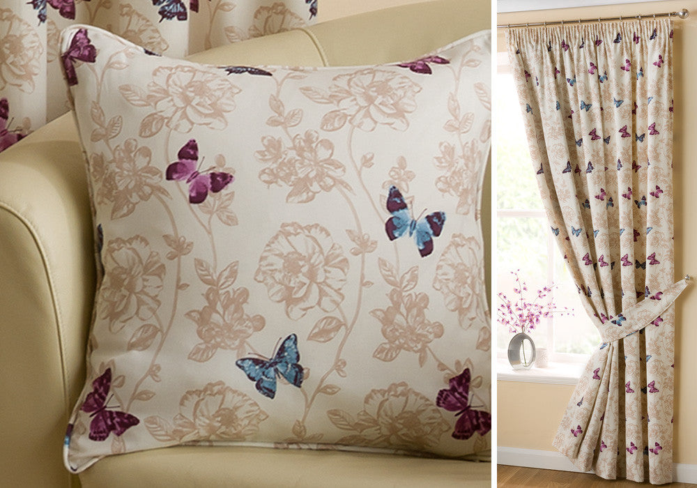 Cream butterfly cushion and matching pencil pleat curtains