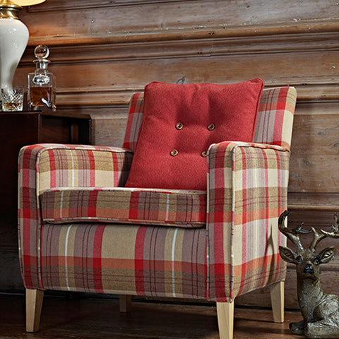 Beige and red checked arm chair
