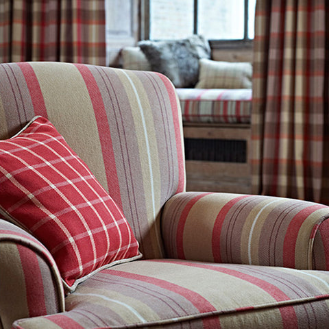 Beige and red striped arm chair