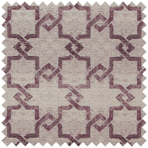 Beige and maroon geometric fabric swatch