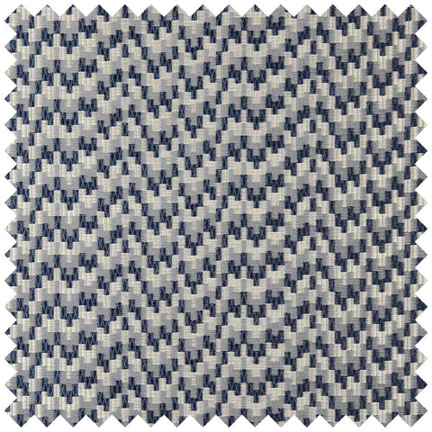 A wavy blue and grey geometric patterned fabric swatch