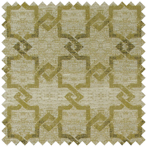 Olive green geometric fabric swatch