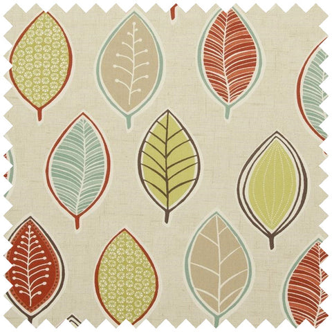 Beige fabric with a red and green leave funky pattern