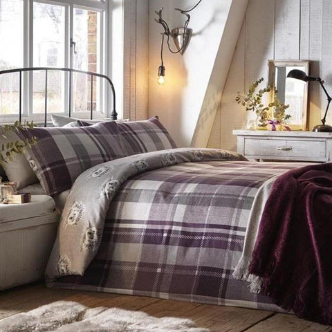 White and light purple checked bedding