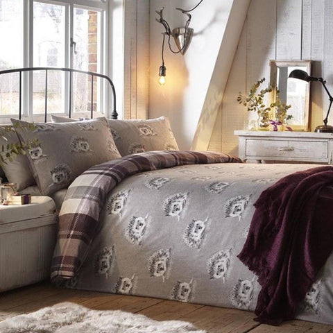 Grey and light purple hedgehog bedding