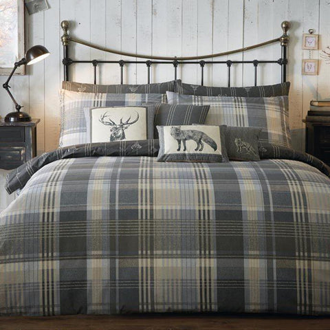 Grey and beige checked bedding