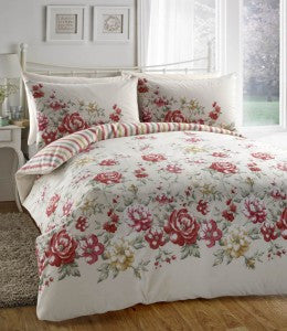 Deborah Red And White Floral Rose Bedding