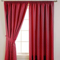 Dotty Ready Made Blackout Curtains Red