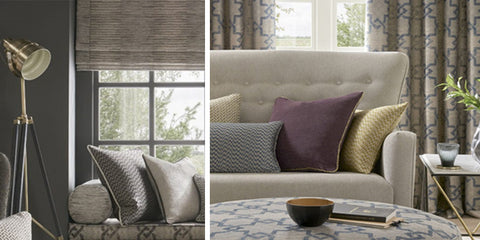 On the left a tripod floor lamp pointing at cushions in a window bench, on the right cushions on a cream sofa