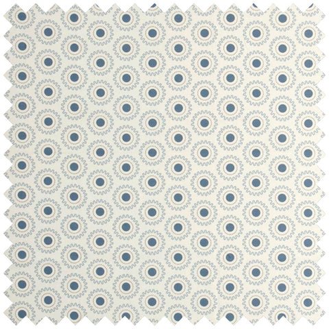 Cream fabric swatch with blue cog like circle pattern