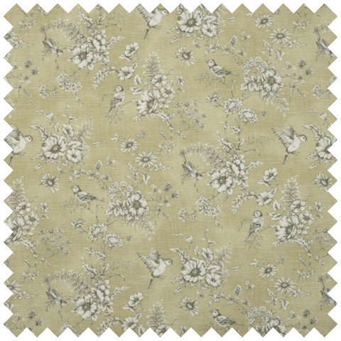 Dull gold fabric with a detailed floral and bird themed design