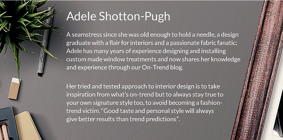 Footer blurb about Adele Shotton-Pugh and her experience