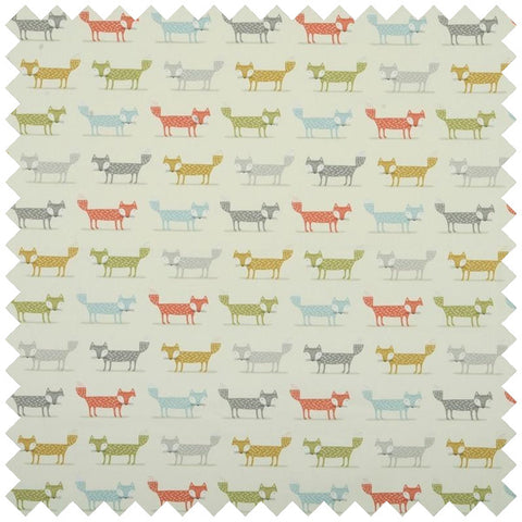 Beige fabric with multi coloured fox repeat pattern