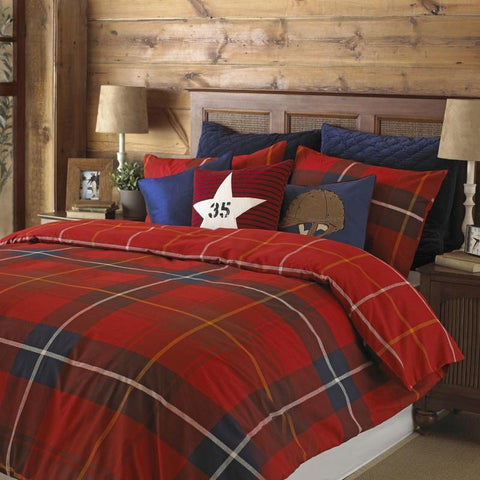 Red and blue checked bedding