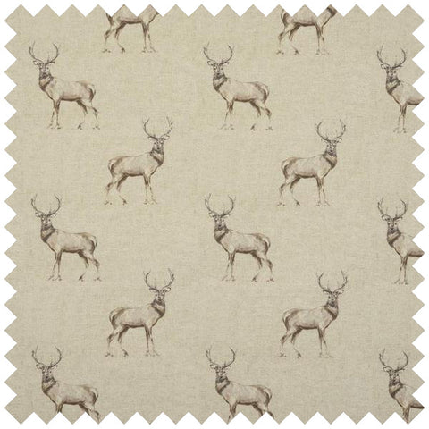 Beige fabric with repeat pattern deer pattern