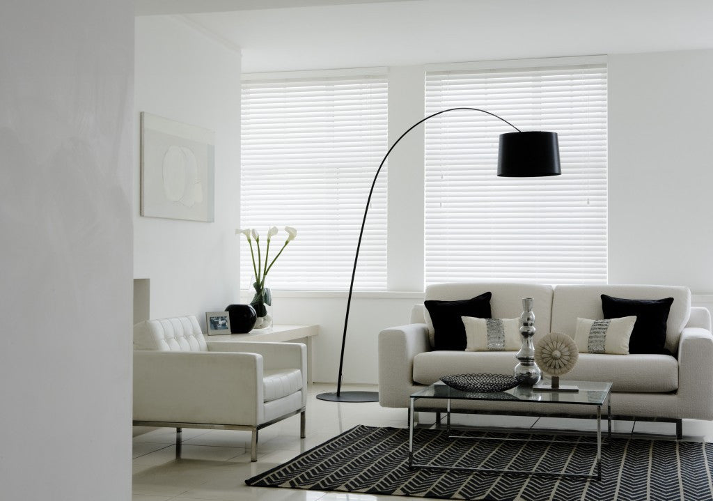 Gloss White venetian blinds in a Living Room
