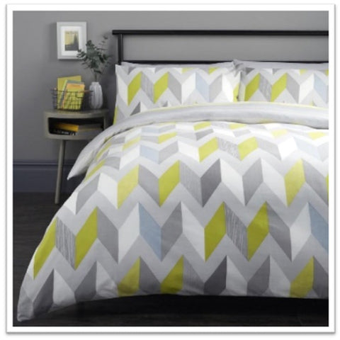 Geometric double bedding with zig zag green and grey design