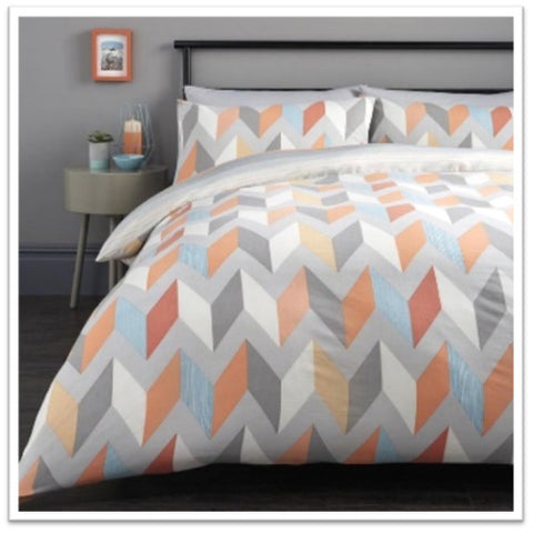 Geometric double bedding with zig zag orange and blue design