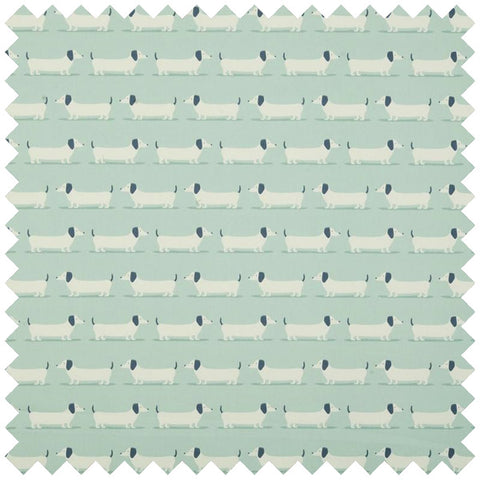 Duck egg blue fabric with a sausage dog design