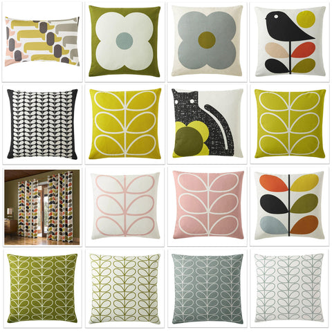Collage grid of different Orla Kiely cushions