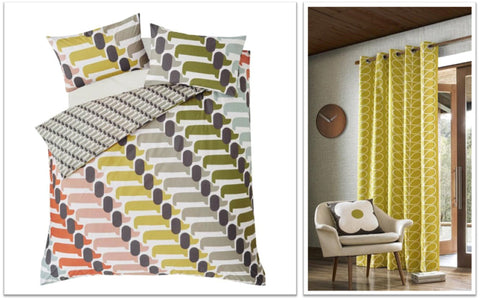Orla Kiely bedding on the left and yellow geometric curtains on the right