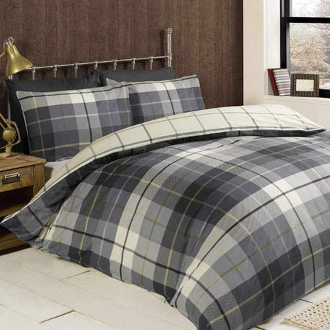 Grey and white checked bedding