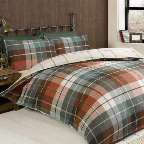 Green and orange checked bedding
