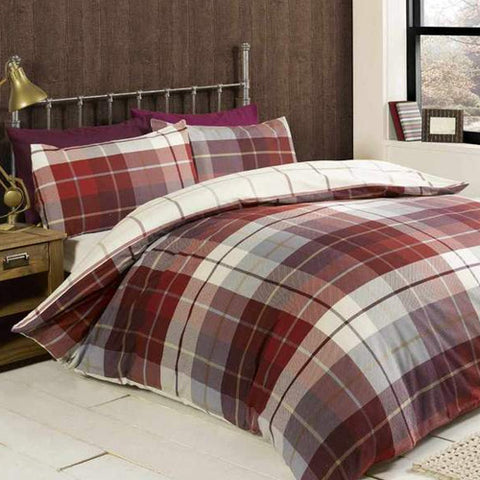 Red and white checked bedding