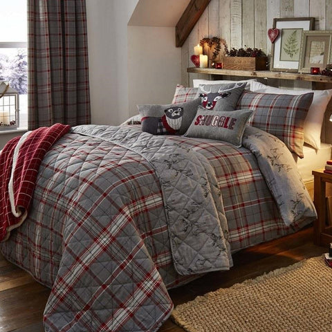 Ludlow Bedding In Red And Grey