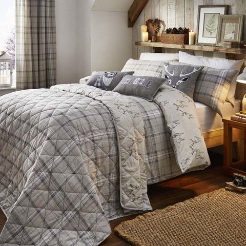Grey checked bedding