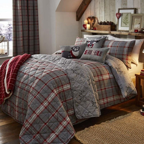 Grey and red checked bedding